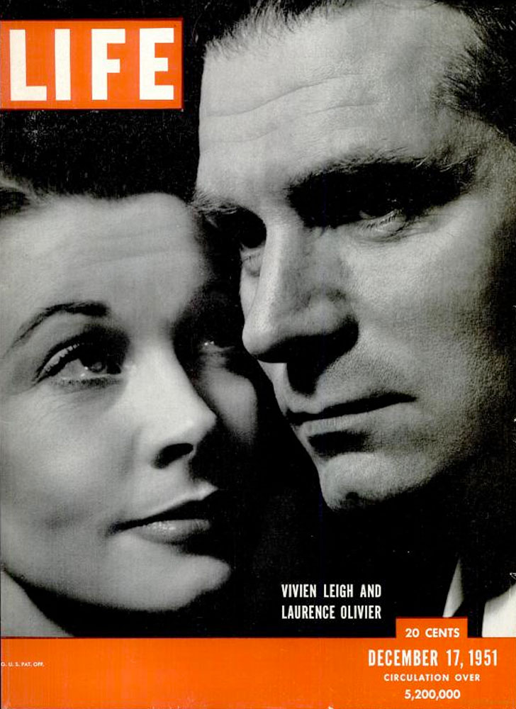 December 17, 1951, cover of LIFE magazine featuring Vivien Leigh and Laurence Olivier.