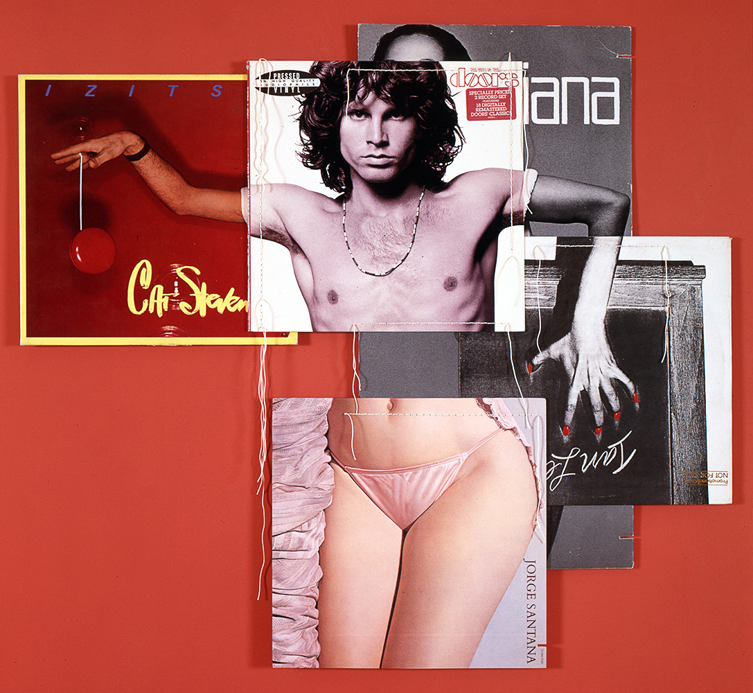 Doorsiana, from the series Body Mix, 1991                                                              Various body parts were often the subject of the images of album covers. In his series Body Mix, Marclay sewed together album covers to create single collages, as depicted above in Doorisana. The mixing of the images put together not only different parts of anatomy, but also people of different cultural, ethnic, and social backgrounds.