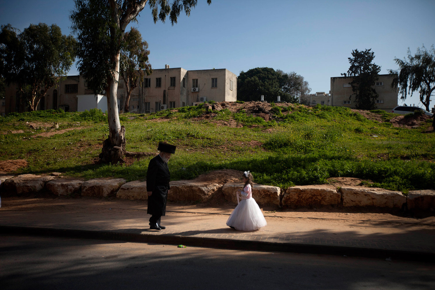 March 8, 2012. An ultra-Orthodox Jewish girl dressed as a bride during a Purim festival in the ultra-Orthodox town of Bnei Brak near Tel Aviv, Israel.