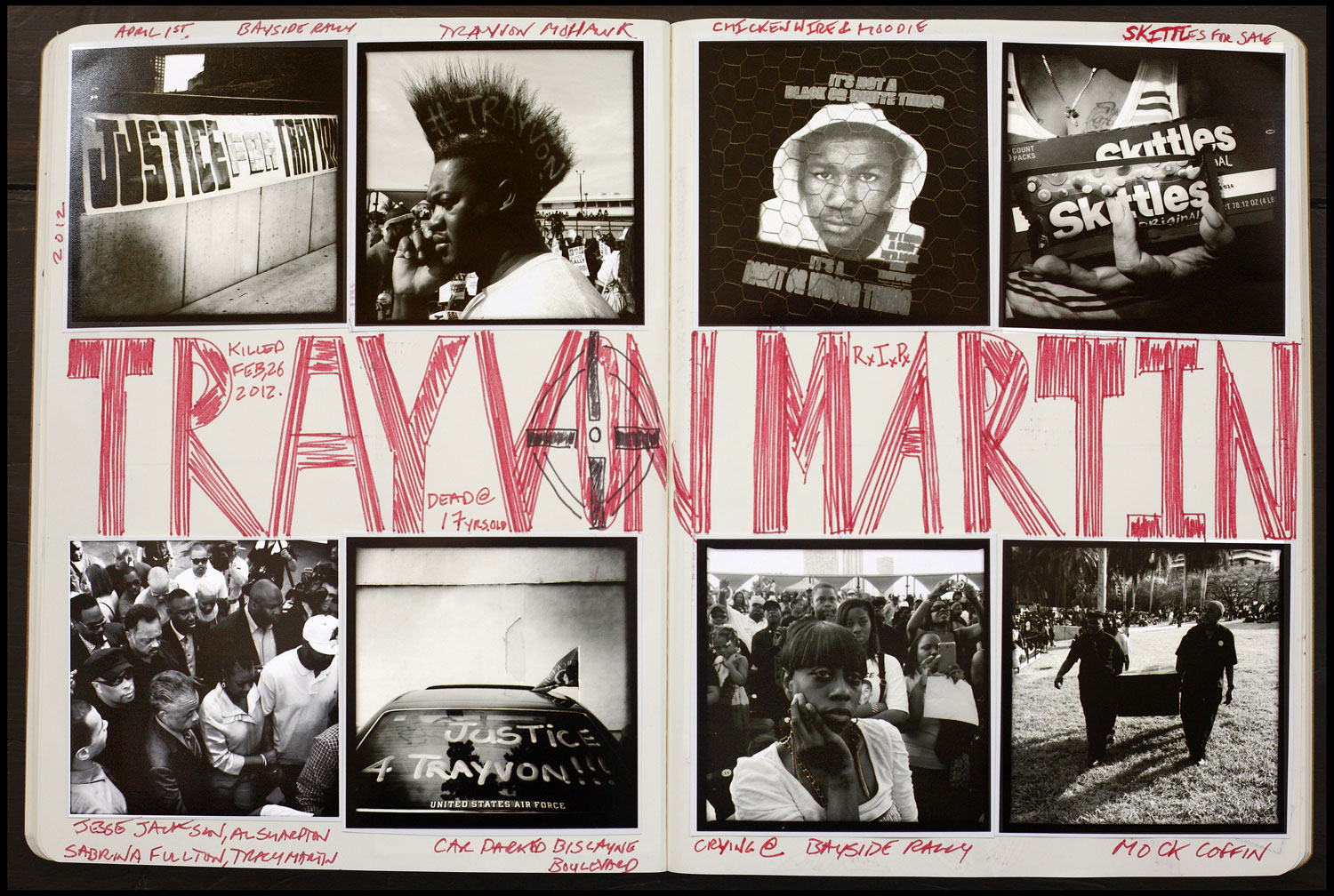 Andrew Kaufman began to create a scrapbook  style journal of his photographs and writing from all the protests he documented. Above: AK FOTO Journal #1