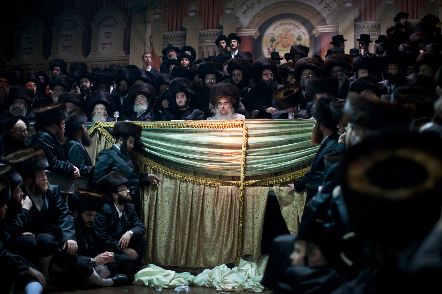 Feb. 14, 2012. Ultra-Orthodox Jews gather for the traditional Jewish wedding for Chananya Yom Tov Lipa, the great-grandson of the Rabbi of the Wiznitz Hasidic followers, in the Israeli town of Petah Tikva near Tel Aviv.