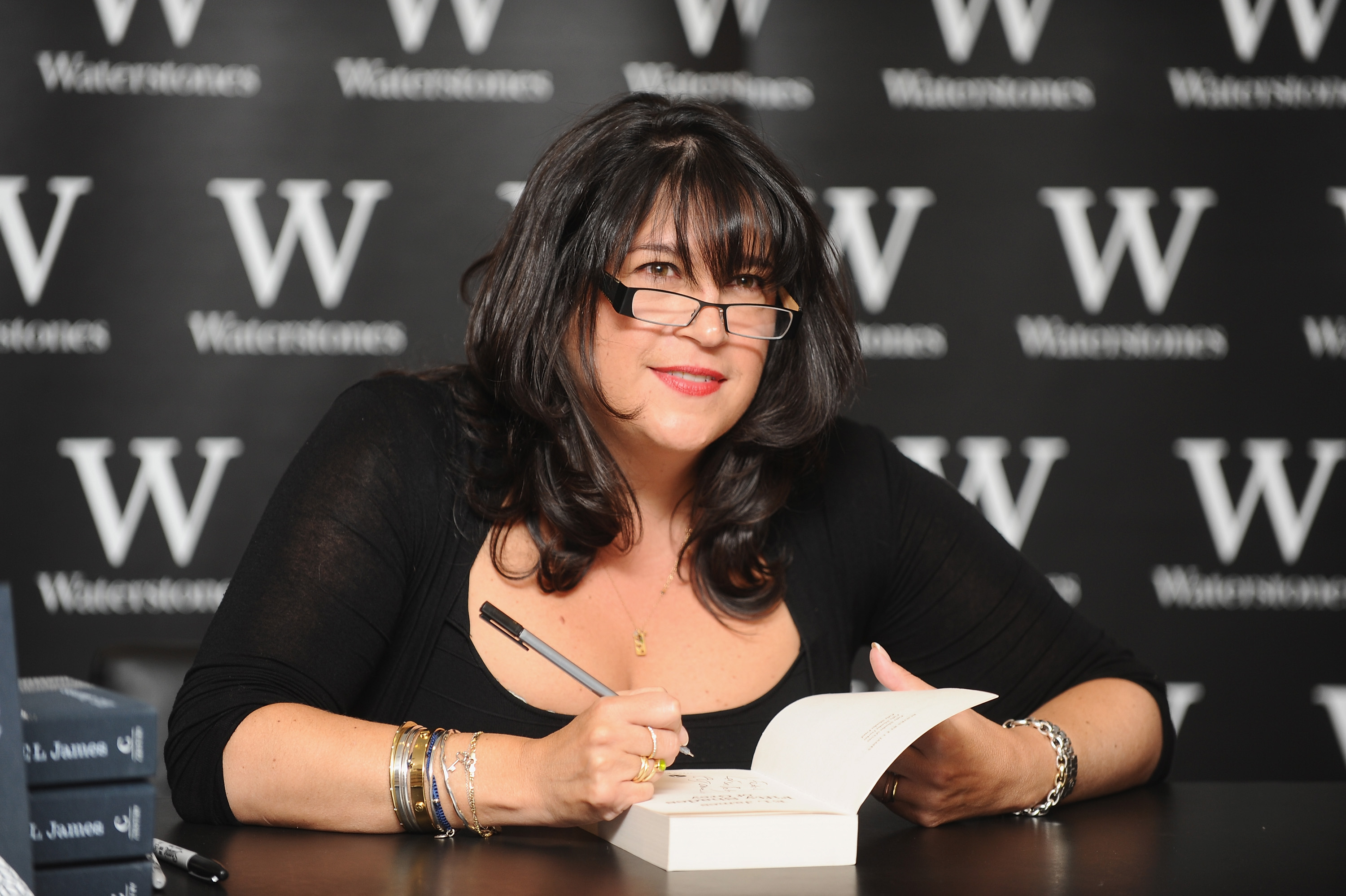 E L James  meets her fans and signs copies of her bestselling novels at Waterstones, Piccadilly on September 6, 2012 in London, England.
