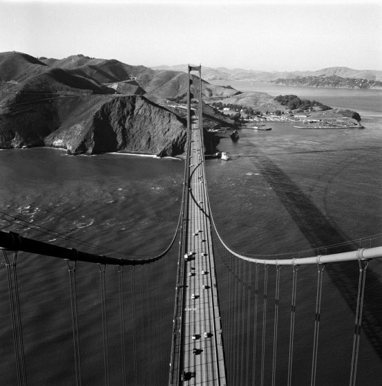The view north from atop the Golden Gate Bridge in 1955.