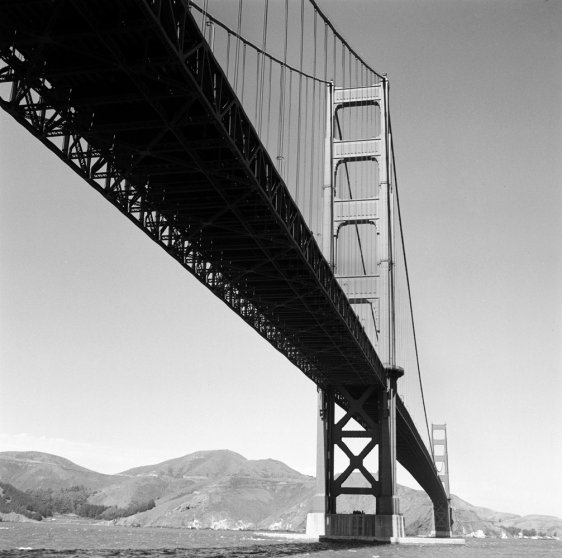 The Golden Gate Bridge in 1955.