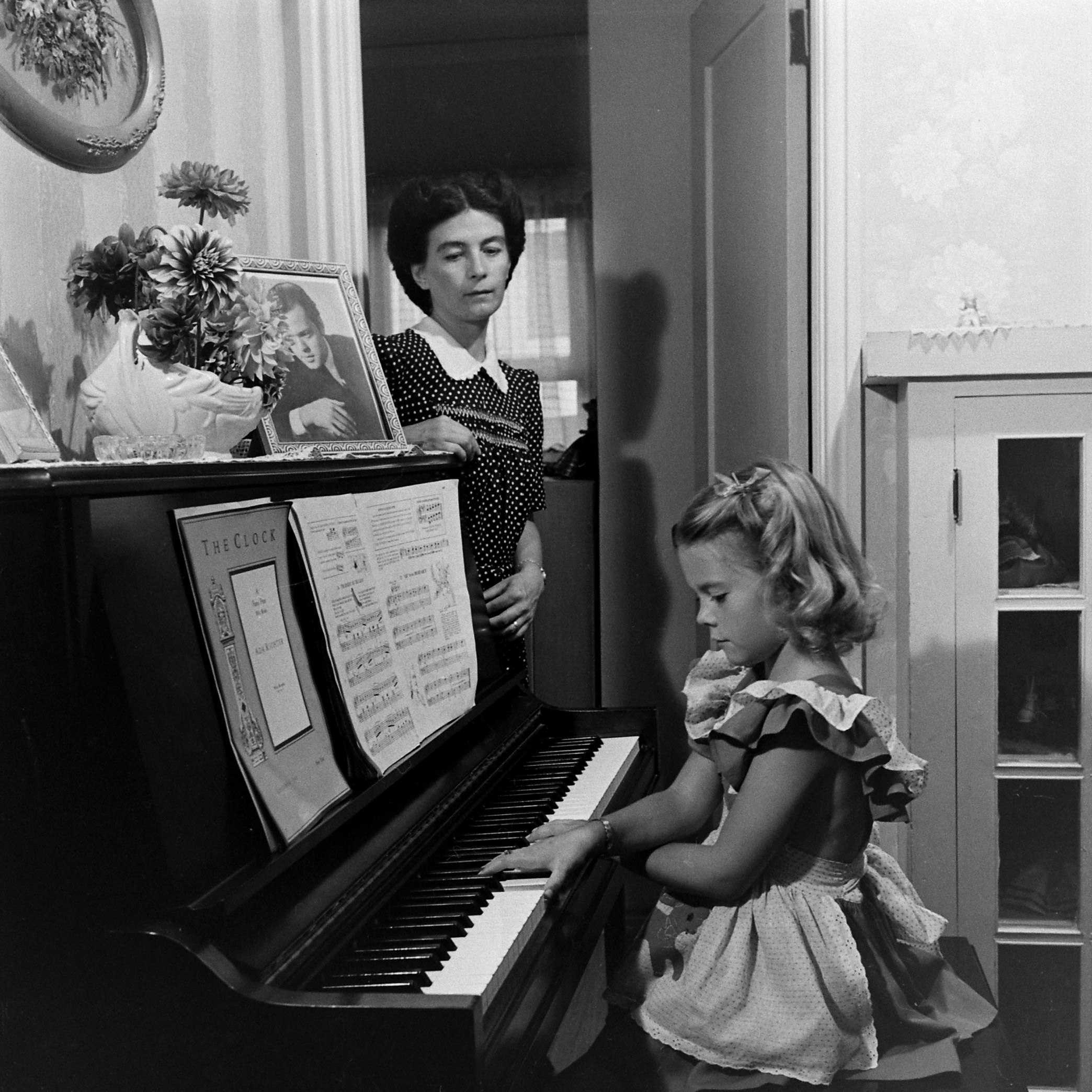 Natalie Wood and her mother at home, 1945.