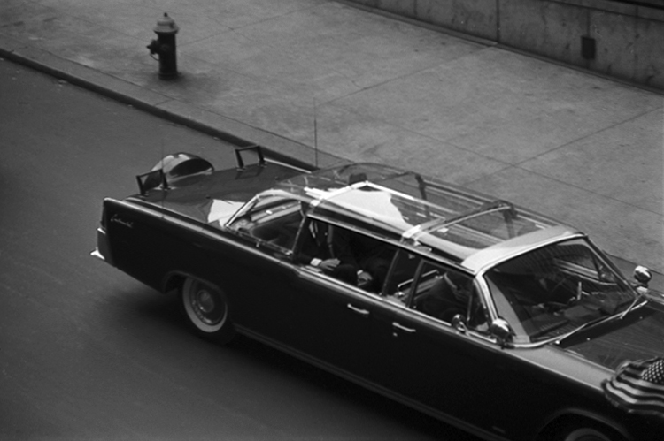 """John F. Kennedy arrives in a limo at Madison Square Garden for a """"Birthday Salute"""" in his honor, New York, May 19, 1962."""