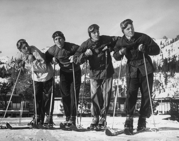 American skiers in training, Squaw Valley, California, 1950.