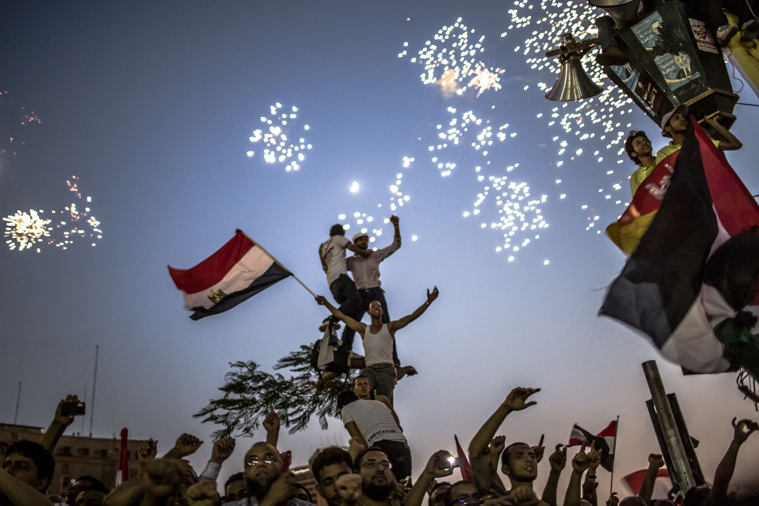 June 24, 2012, Cairo. Egyptians celebrate the election of their new president Mohamed Morsy in Tahrir Square.