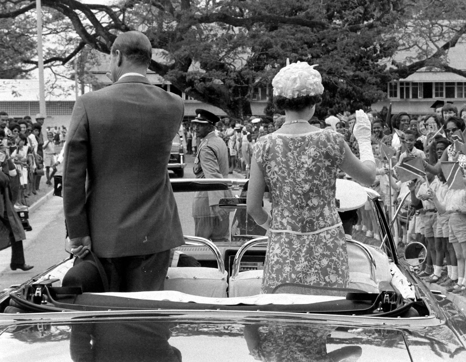 Queen Elizabeth II (right) and Prince Philip on a tour of Trinidad and Tobago, 1966.