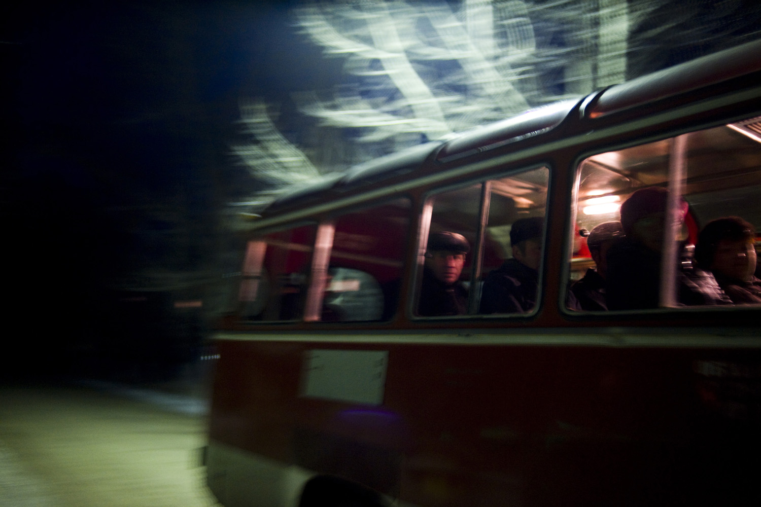 Uranium mine workers take the early-morning bus in December 2009 to the mine in Shantobe, Kazakhstan, which is operated by the Kazakh government. The town was originally founded by the Soviets to house miners—today, the entire town is still employed by the mine.