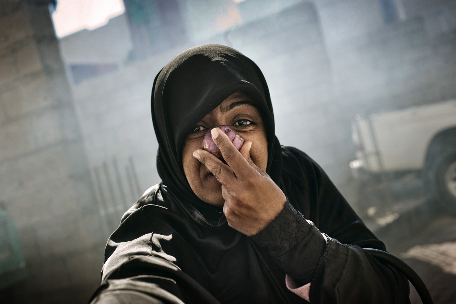 A protester passes out onions and garlic which battle the negative effects of the teargas sent by Bahraini forces in February, 2011.