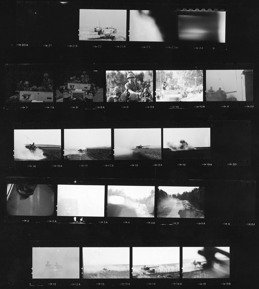 Contact sheet of pictures from LIFE photographer Paul Schutzer's last roll of film, 1967.