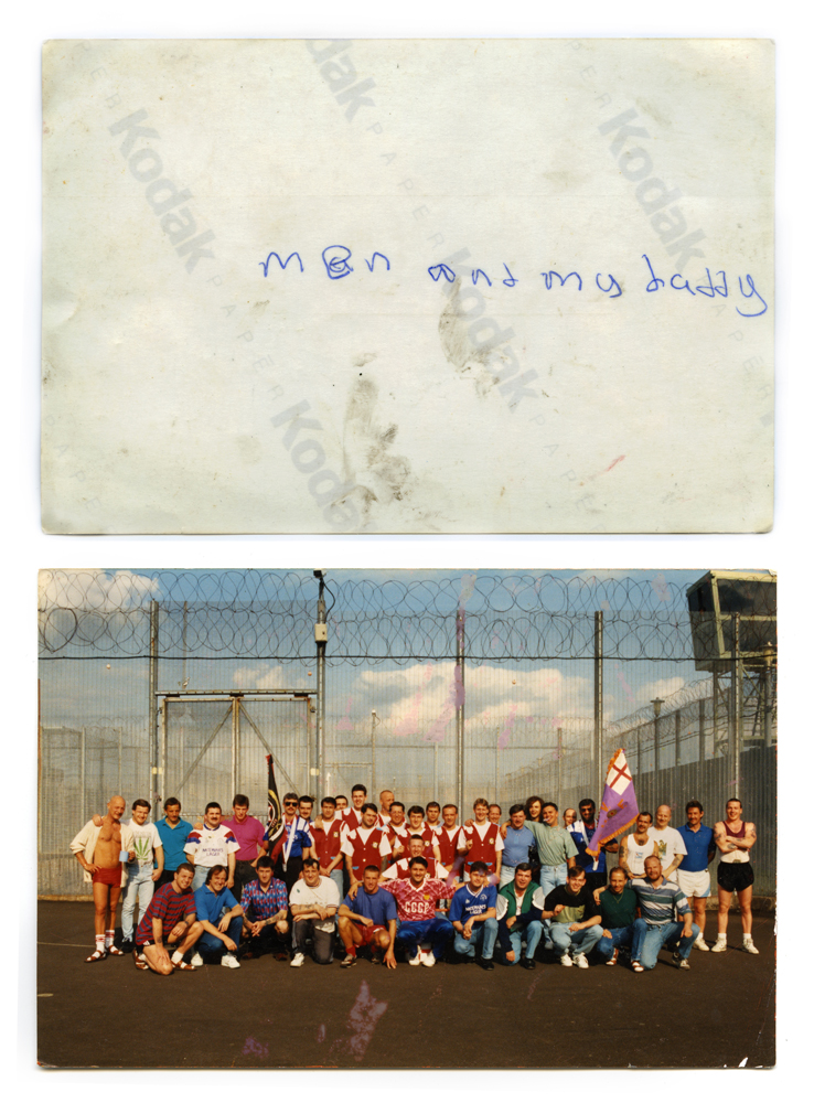 UDA and UVF members pose for a snapshot taken inside the Maze prison in the early 1990s. The title of Patterson's project comes from the words on the back of the picture, written by the daughter of Tommy (front row, 4th from the left), who features in the project.