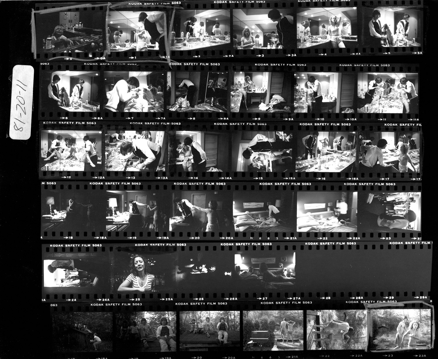 The contact sheet shows every frame of the first fight I witnessed between Garth and Lisa. The most important thing on my mind was to take pictures to prove that what I was seeing really happened. Without a photograph there would be no evidence.