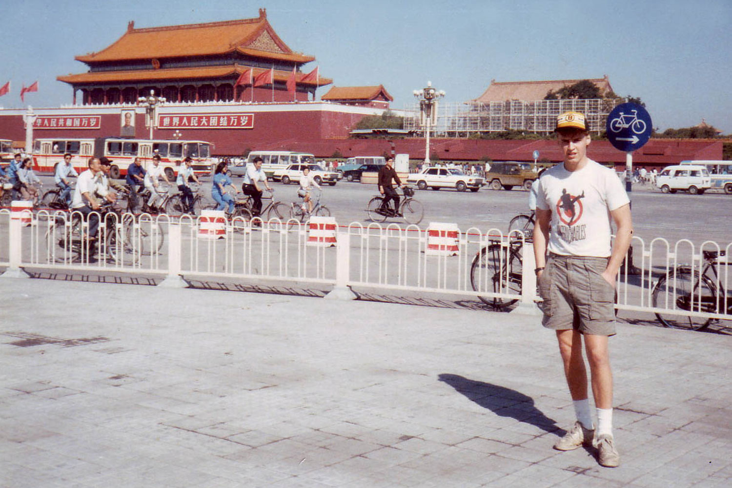 A photograph of Kirk Martsen in Tiananmen Square in 1989. Martsen helped Associated Press photographer Jeff Widener smuggle out the film containing the now-iconic photograph of the lone man facing down a row of tanks.