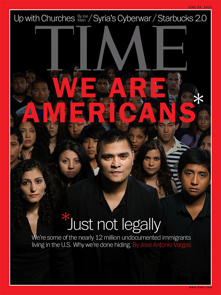 The June 25, 2012 cover of TIME Magazine. Gian Paul Lozza photographed journalist Jose Antonio Vargas and 35 other undocumented immigrants.