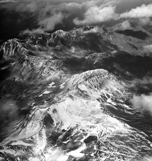 The rocky peaks of Attu Island, Alaska, 1943.