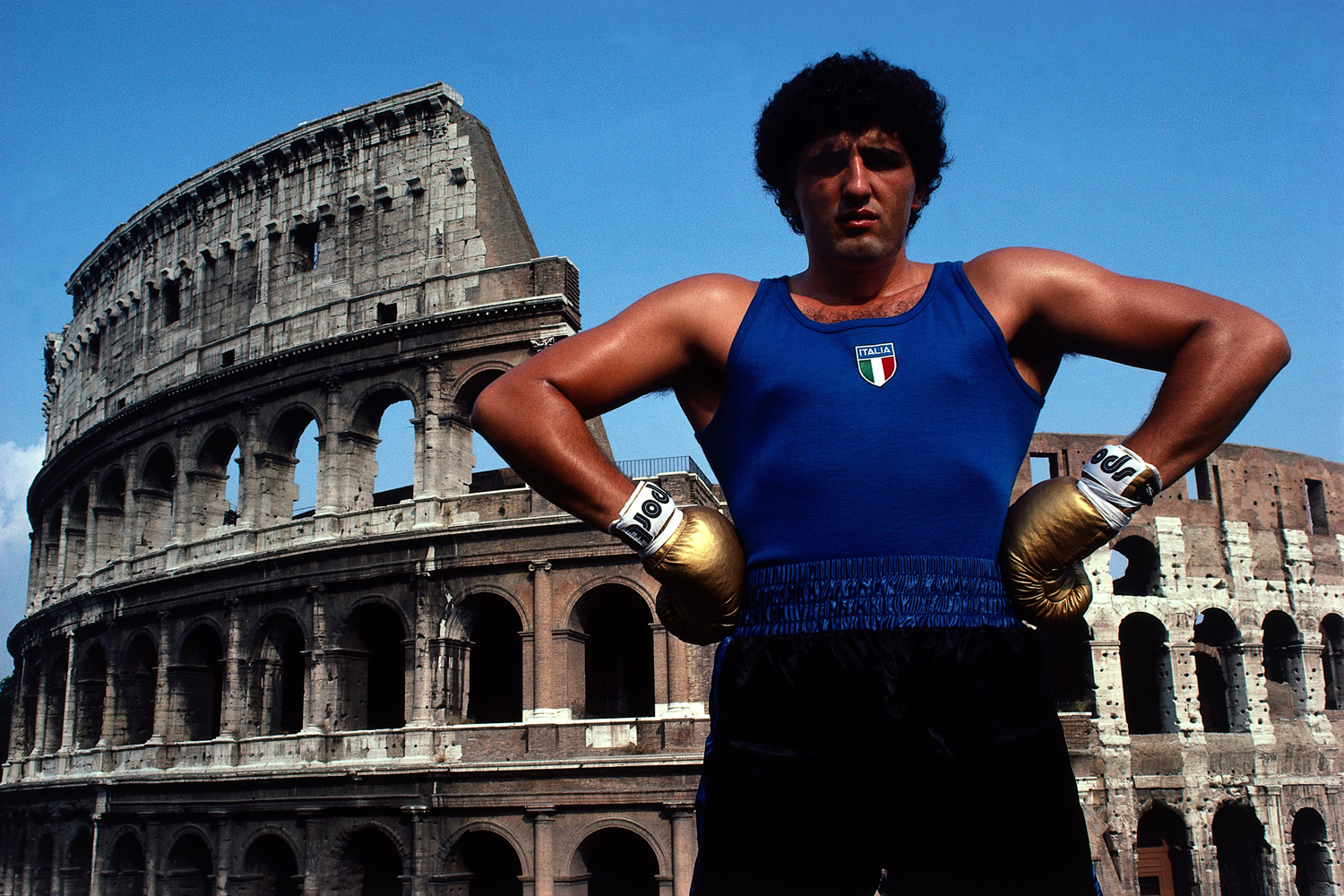 Heavyweight boxer Francesco Damiani in front of the Colosseum in Rome.