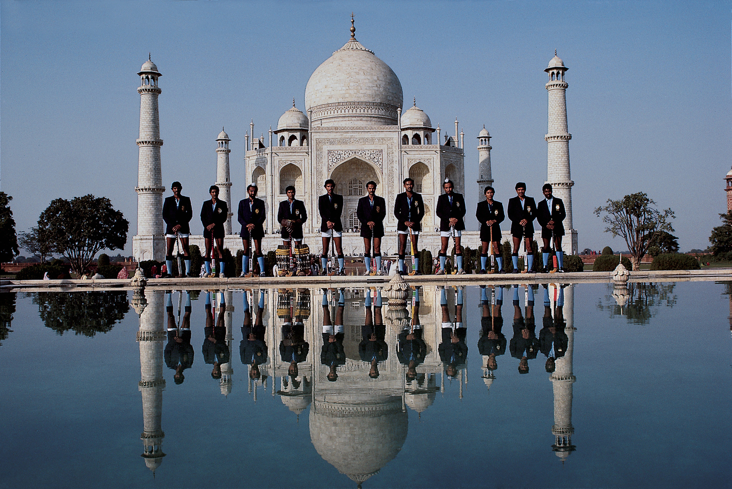 The Indian field hockey team poses in front of the Taj Mahal in Agra, India.