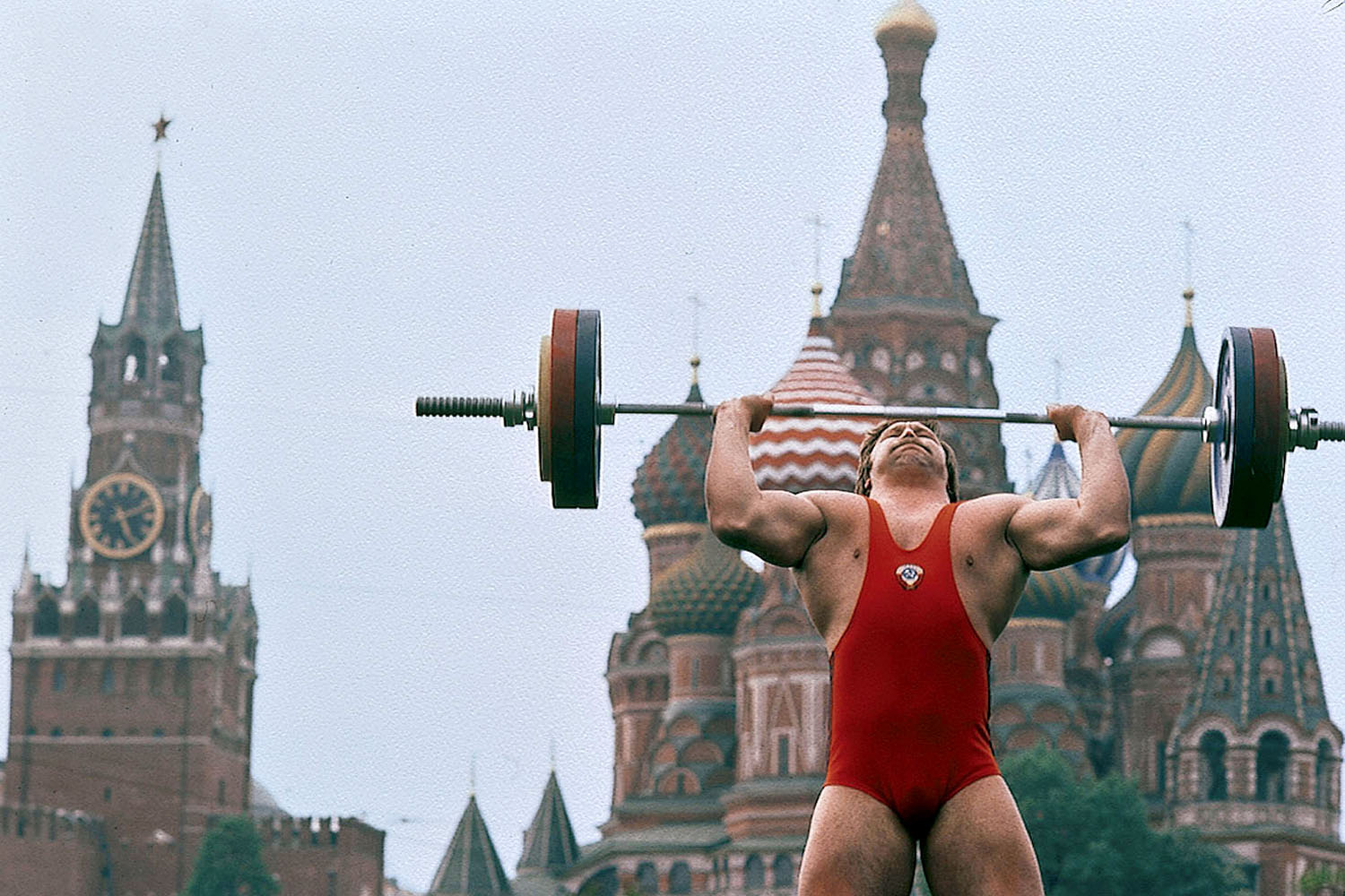 Weightlifter Viktor Mosibit poses in front of St. Basil's Cathedral in Moscow's Red Square.