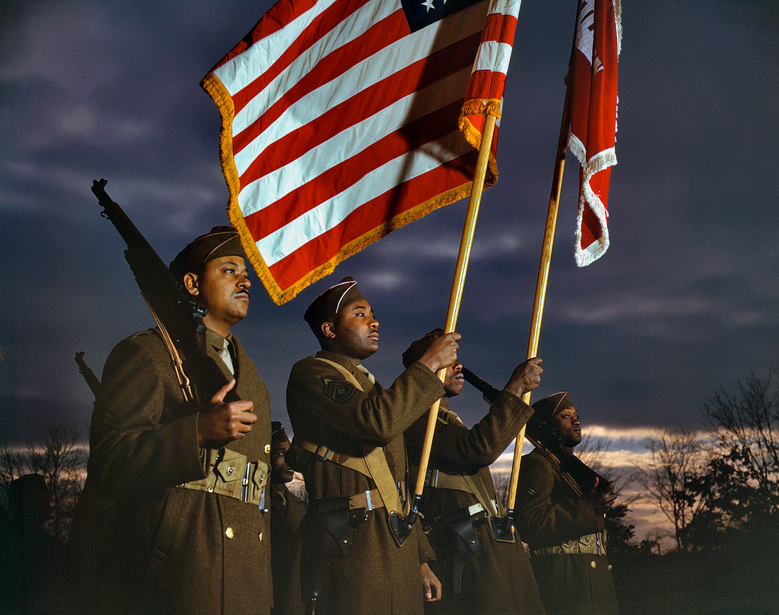 March 1943. Engineers' color guard at Fort Belvoir, Virginia.
