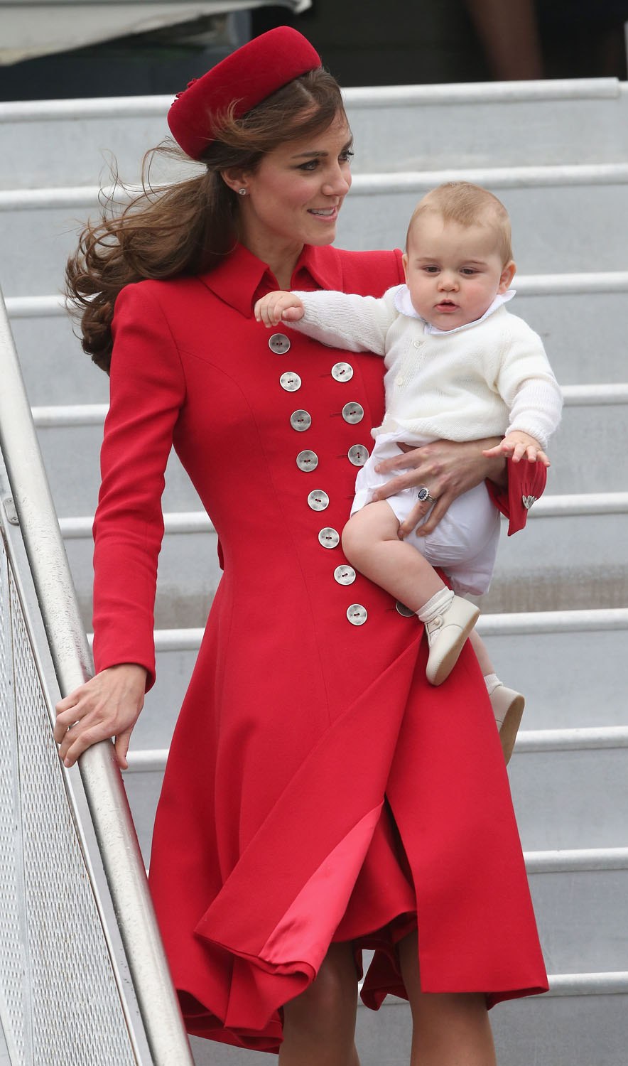 <strong>Precious Cargo</strong>Catherine, Duchess of Cambridge and Prince George of Cambridge arrive at Wellington Military Terminal on an RNZAF 757 from Sydney on April 7, 2014 in Wellington, New Zealand.