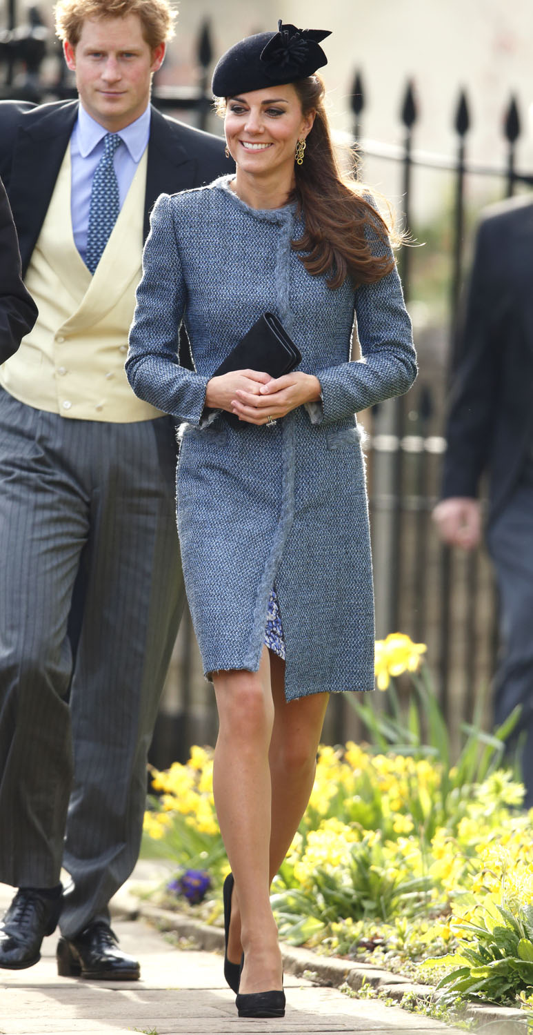 <strong>Double Fringe Take</strong>Catherine, Duchess of Cambridge attends the wedding of Lucy Meade and Charlie Budgett at the church of St Mary the Virgin, Marshfield on March 29, 2014 in Chippenham, England.