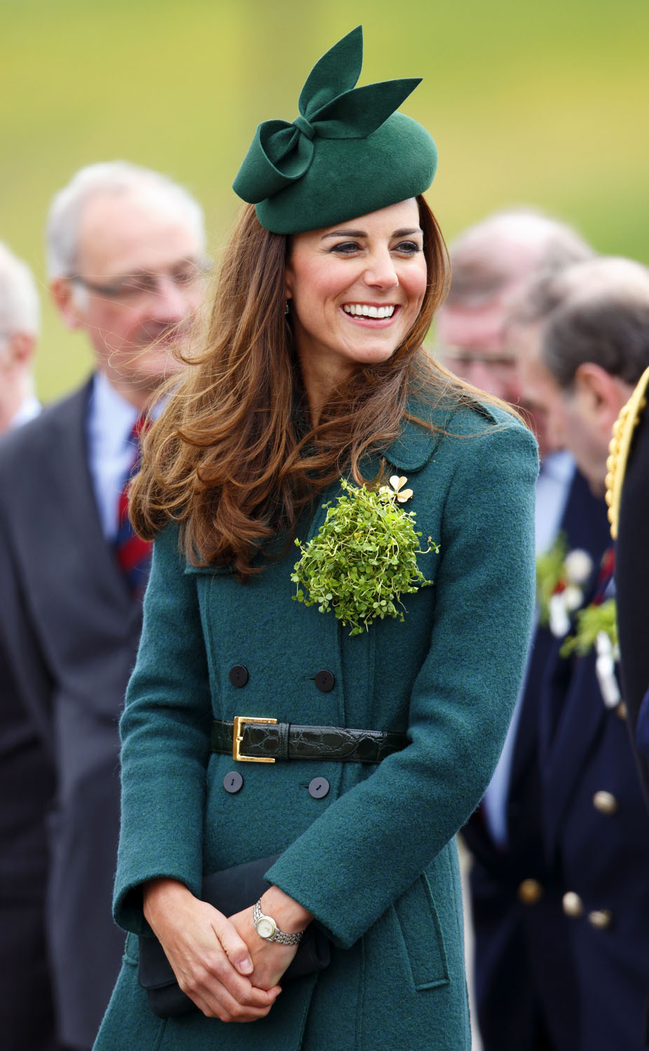 <strong>Green With Envy</strong>Catherine, Duchess of Cambridge attends the St Patrick's Day Parade at Mons Barracks on March 17, 2014 in Aldershot, England.