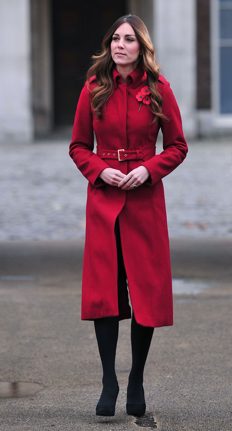 <strong>Red-Letter Day</strong>Britain's Catherine, Duchess of Cambridge, prepares to meet staff and volunteers from the Royal British Legions London Poppy Day Appeal at Kensington Palace in central London on November 7, 2013.