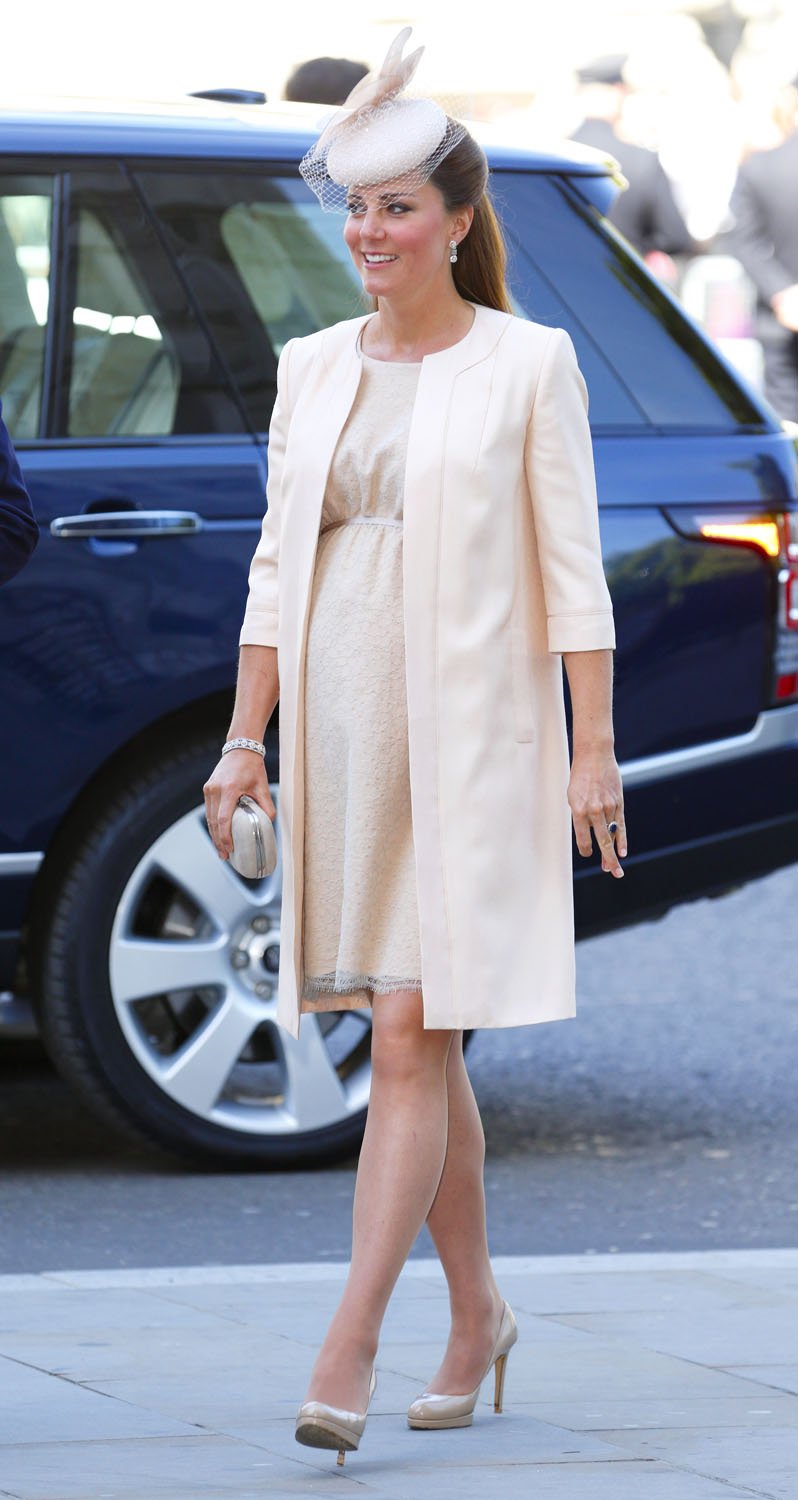 <strong>Blushing for the Queen</strong>Catherine, Duchess of Cambridge attends a service of celebration to mark the 60th anniversary of the Coronation of Queen Elizabeth II at Westminster Abbey on June 4, 2013 in London.