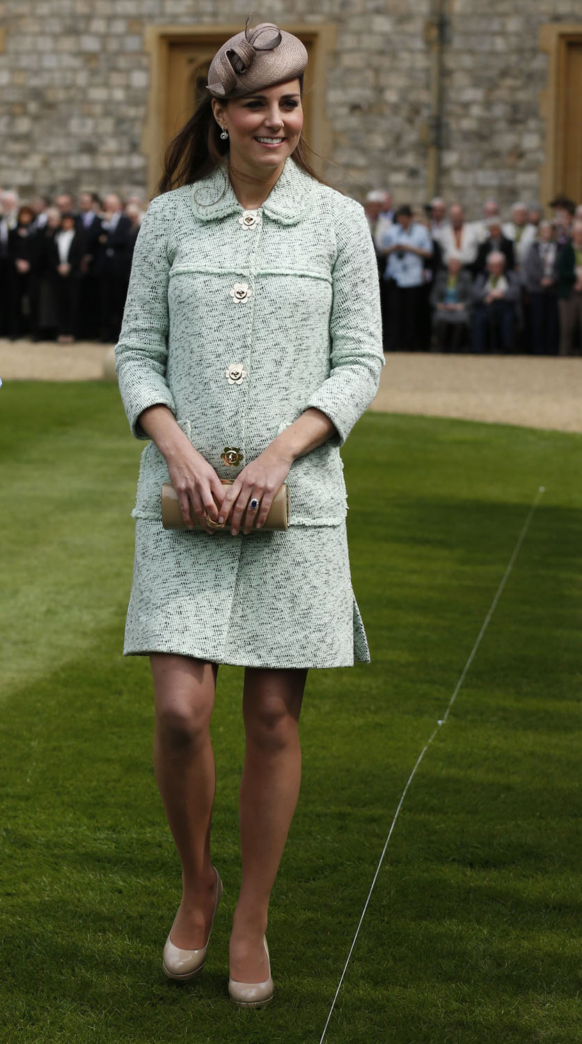 <strong>Mint-Green Mulberry</strong>                                   Catherine, Duchess of Cambridge attends the National Review of Queen's Scouts at Windsor Castle on April 21, 2013.