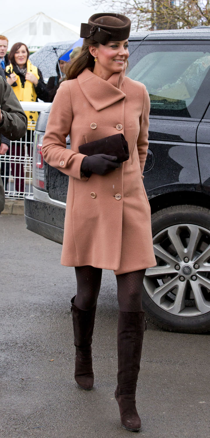 <strong>Peach and Chocolate</strong>Catherine, Duchess of Cambridge attends Day 4 of The Cheltenham Festival at Cheltenham Racecourse on March 15, 2013 in London.