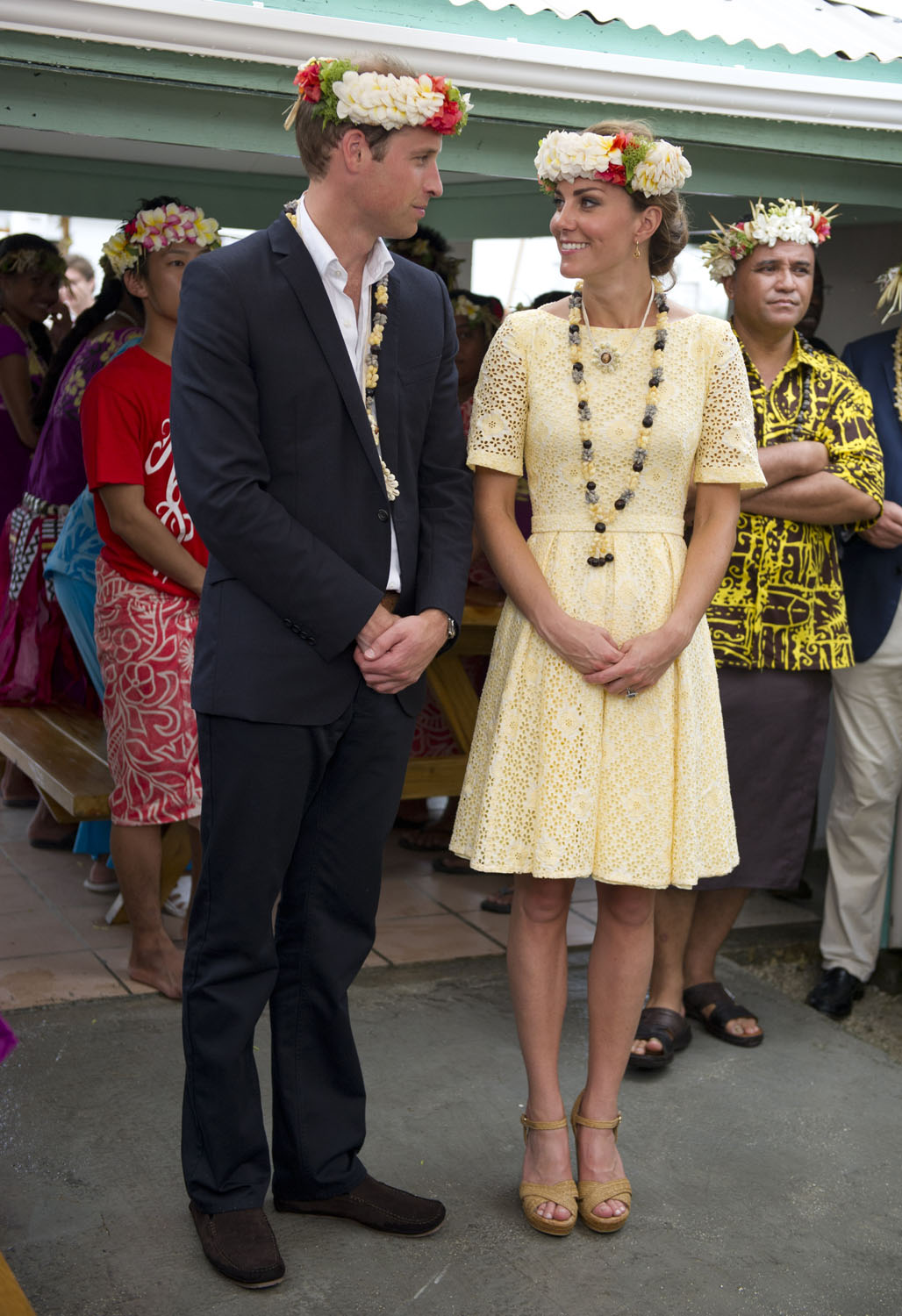 <strong>Lemon Yellow</strong>Catherine, Duchess of Cambridge and Prince William, Duke of Cambridge visit Nauti Primary School during the Royal couple's Diamond Jubilee tour of the Far East on September 18, 2012 in Funafuti, Tuvalu.