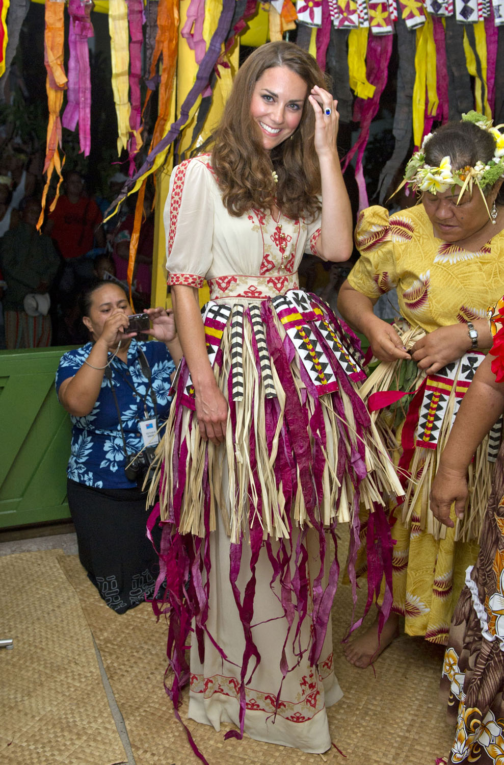 <strong>Dancing With the Princess</strong>Catherine, Duchess of Cambridge prepares to dance with the ladies at the Vaiku Falekaupule for an entertainment programme on September 18, 2012 in Tuvalu.