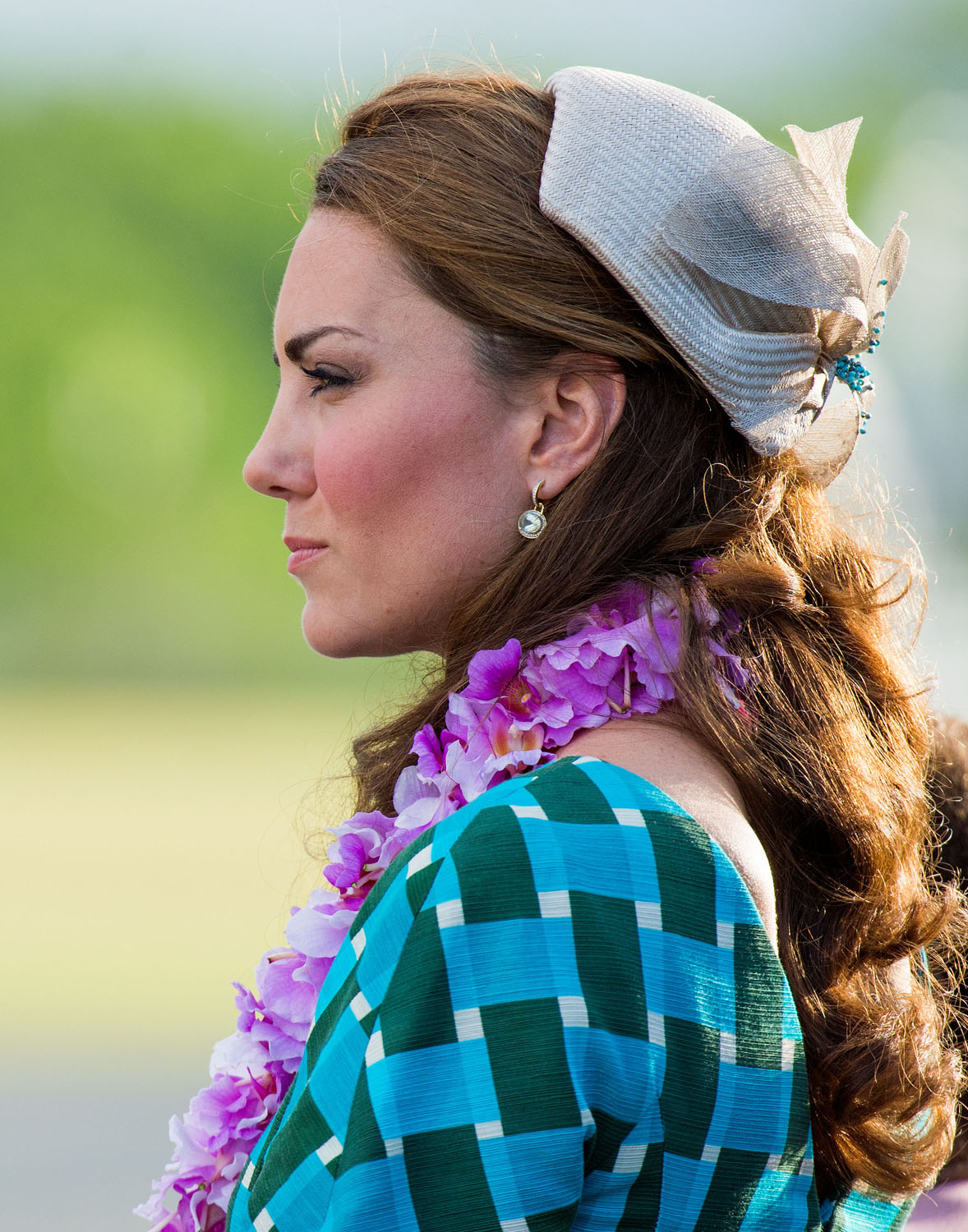 <strong>Garlanded, Your Grace</strong>Catherine, Duchess of Cambridge arrives at Honiara International Airport on day 6 of the royal couple's Diamond Jubilee tour of the Far East on September 16, 2012 in Honiara, Guadalcanal Island, Solomon Islands.