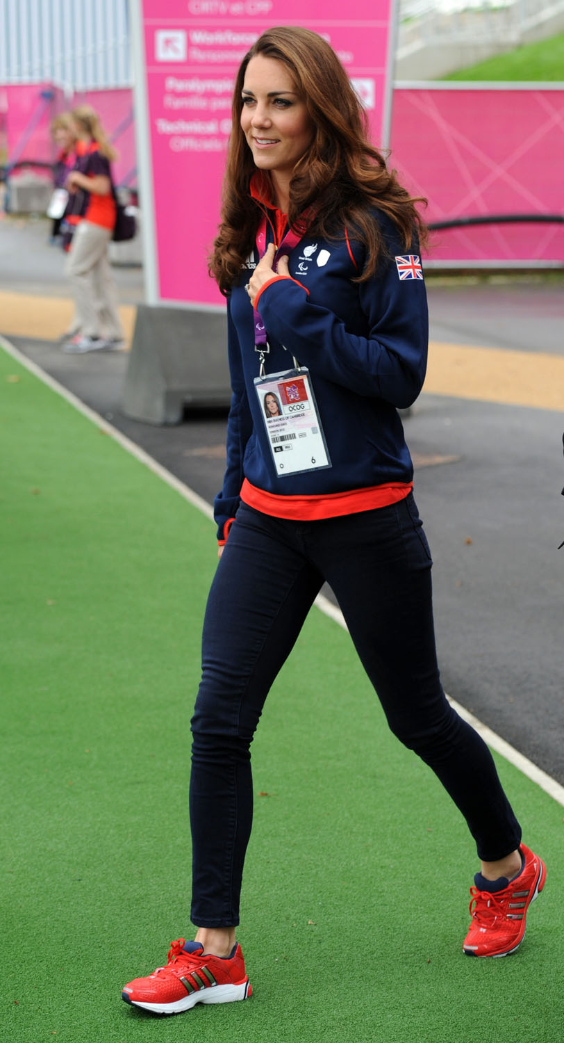 <strong>Team Player</strong>Catherine, Duchess of Cambridge leaves the Copper Box after watching Great Britain play Lithuania in Goalball at the London 2012 Paralympic Games on August 30, 2012 in London.