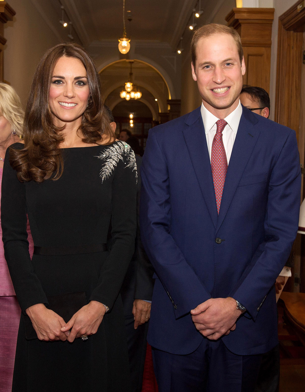 <strong>The Fern of New Zealand</strong>Catherine, Duchess of Cambridge and Prince William, Duke of Cambridge pose together at the unveiling a portrait of Queen Elizabeth II, painted by New Zealand artist Nick Cuthell at a state reception at Government House on April 10, 2014 in Wellington, New Zealand.