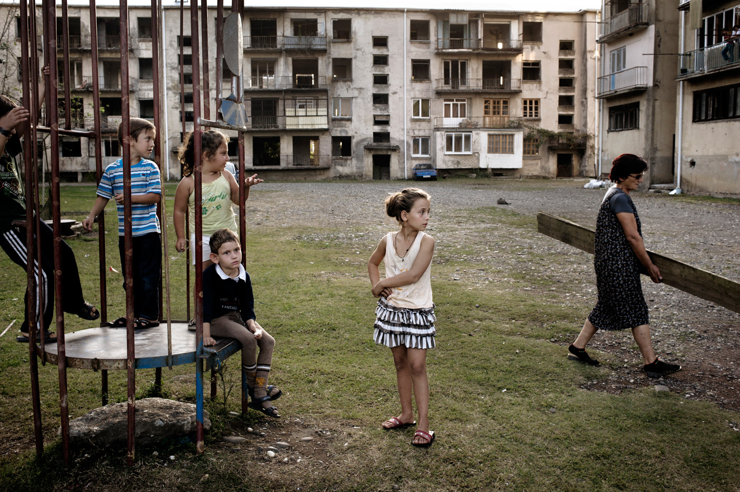 Abkhaz children on a playground in Ochamchira which used to be populated predominantly by ethnic Georgians. After the war, they abandoned their homes and victorious Abkhaz took many of them over.