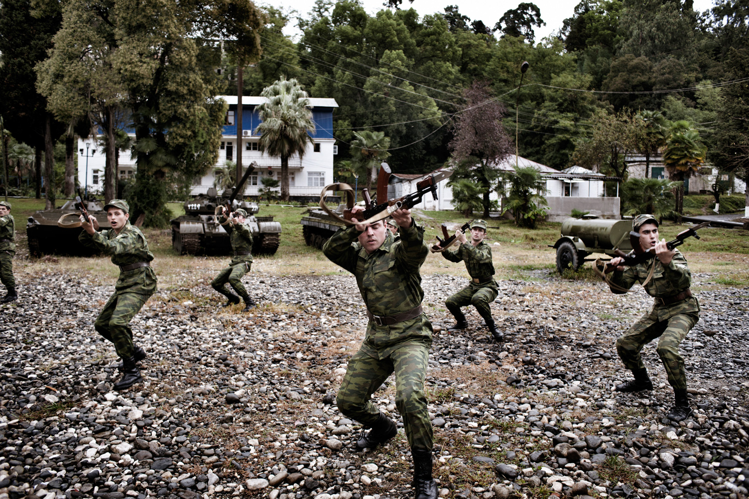 Abkhaz soldiers train at the Military Academy in Sukhumi. Abkhazia's regular forces are believed to be small, with estimates of the standing army ranging from 1,000 to 5,000.
