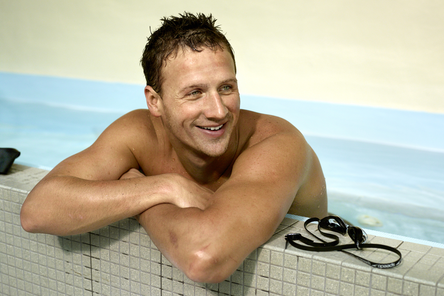 Lochte poolside during a training session for the 2012 Olympics.