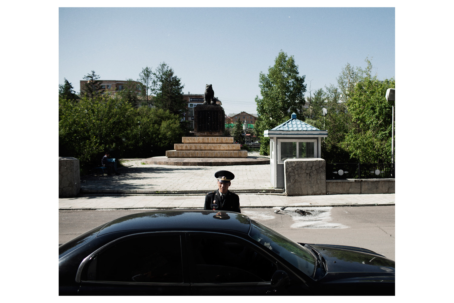 A soldier stands in front of the presidential headquarters in Ulan Bator.