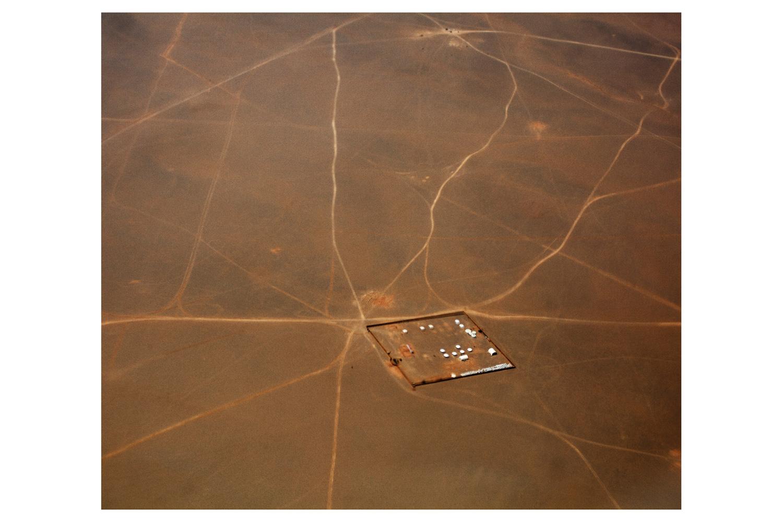 Aerial view of the mine in the Gobi desert.