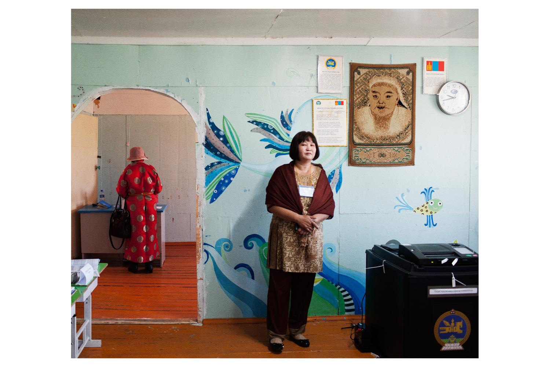 Voters in the village of Erden, Terelj National Park.