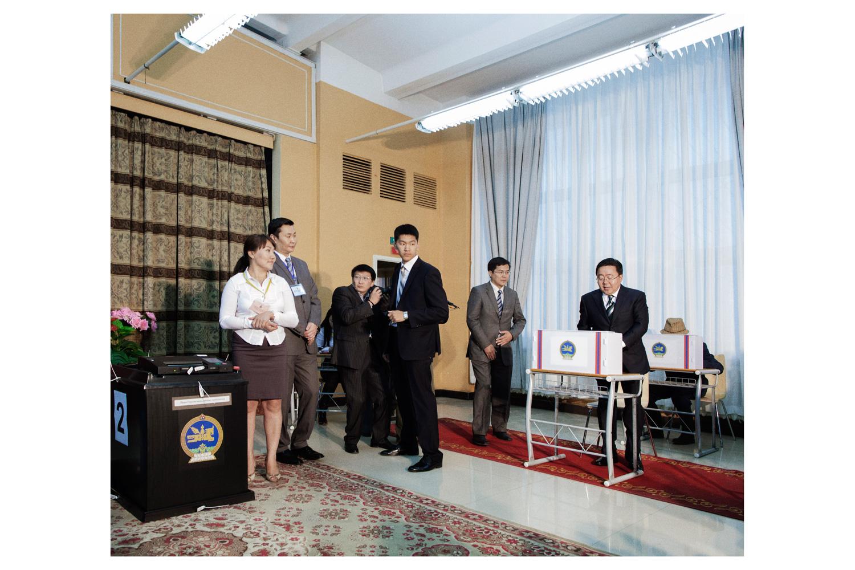 President Tsakhiagiin Elbegdorj votes in the parliamentary election in Ulan Bator.