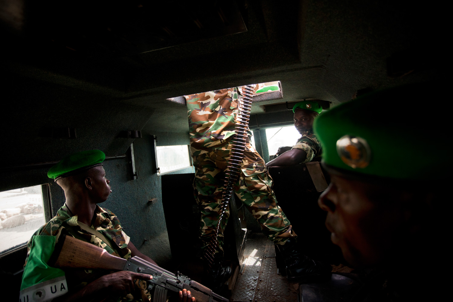 African Union troops inside an armored personal carrier in Baidoa in the east of Somalia.