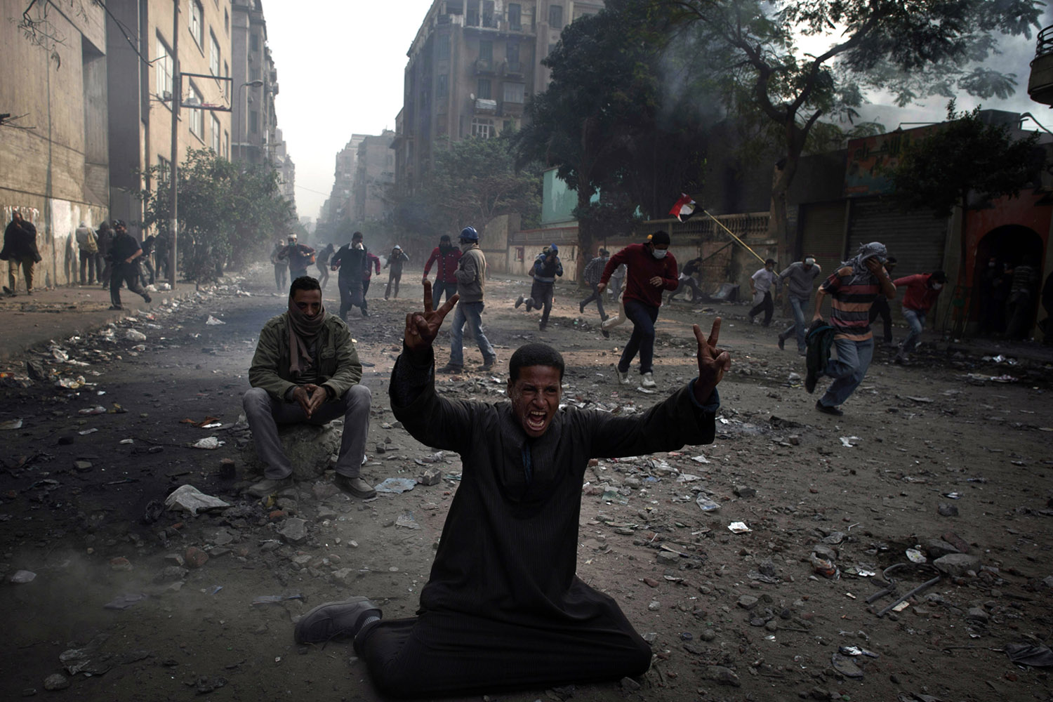 Nov. 22, 2011. Egyptians frustrated by army rule battle police in Cairo streets as the military struggled to cope with the challenge to its authority that has jolted plans for the country's first free election in decades.