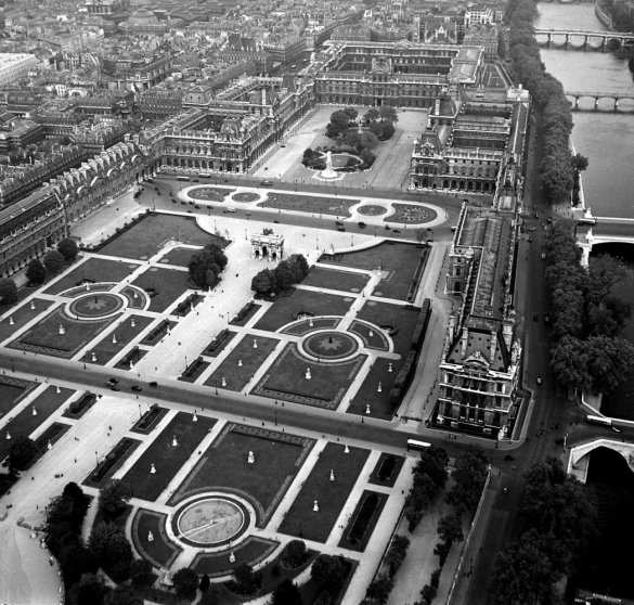 Aerial view of the Louvre and the Tuileries Garden, 1953.