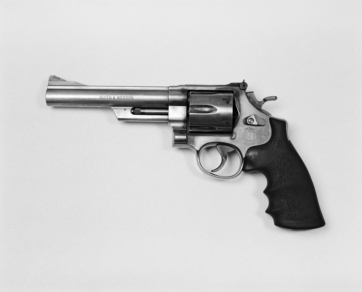 A Smith & Wesson .44 magnum handgun, popularized by the film 'Dirty Harry' starring Clint Eastwood.