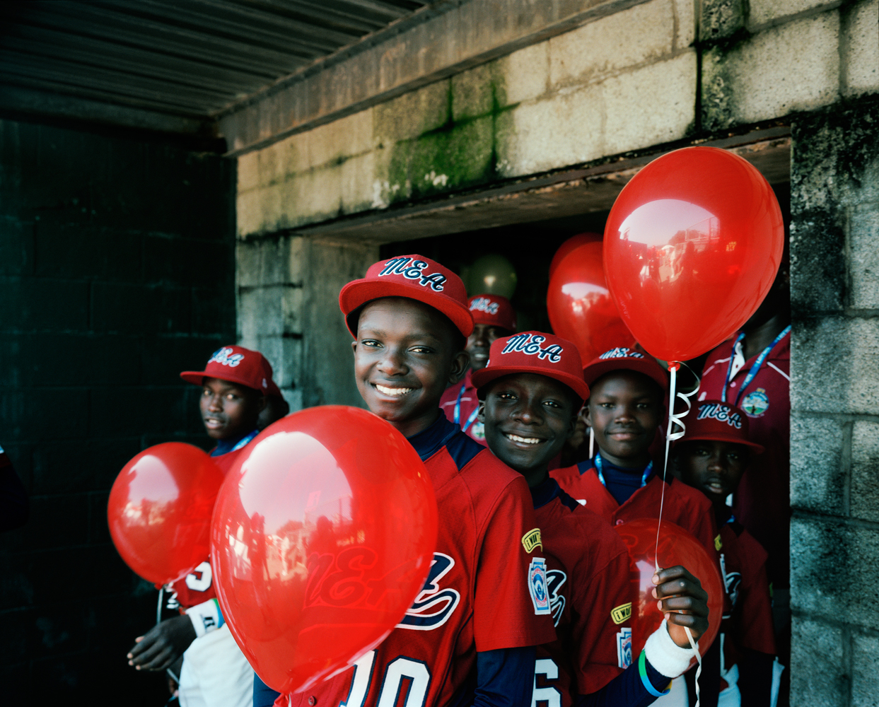 All photos taken on Aug. 16, 2012 at the 66th Little League World Series in Williamsport, Pa.                                The Lugazi Little League team from Lugazi, Uganda celebrate during the opening ceremony.