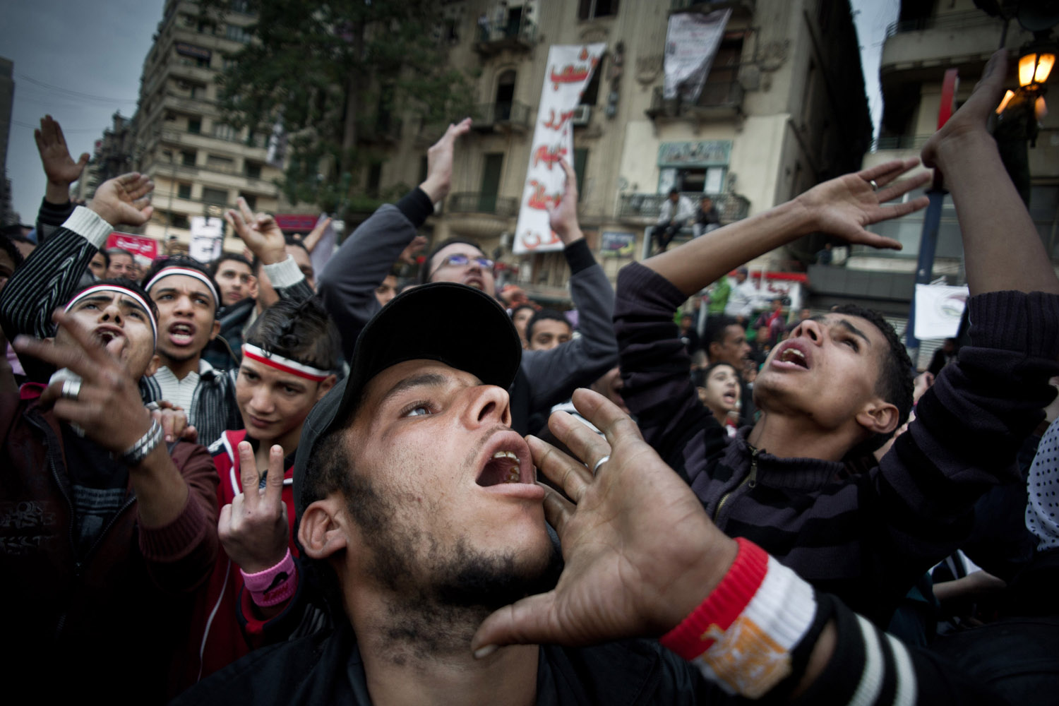 Nov. 27, 2011. Protesters shout slogans during a demonstration against the Egyptian military council in Cairo.